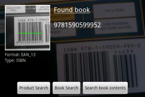 Screenshot: Eingescannte ISBN eines Buchs