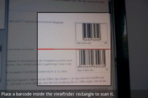 Screenshot: Programm auf Barcode-Suche
